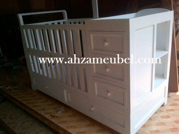 Tempat Tidur Bayi Minimalis Kayu Cat Duco